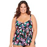 Plus Size Croft & Barrow® Twist Flyaway D-Cup Tankini Top