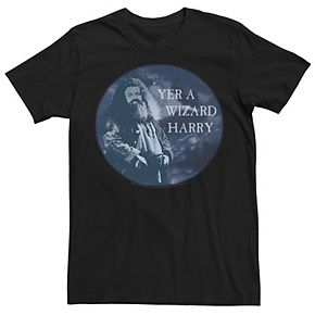 Men's Harry Potter Prisoner of Azkaban Hagrid Yer A Wizard Harry Circle Portrait Graphic Tee