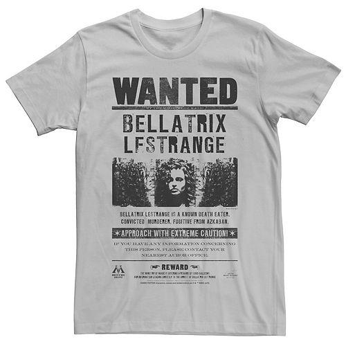 Men's Harry Potter Bellatrix Lestrange Wanted Newspaper Graphic Tee