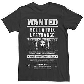 Men's Harry Potter Bellatrix Lestrange Wanted Poster Graphic Tee