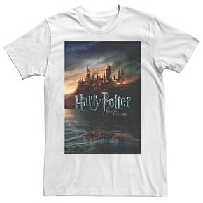 Men's Harry Potter Deathly Hallows Hogwarts Poster Graphic Tee