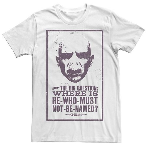Men's Harry Potter Deathly Hallows Voldemort Where Is He Poster Graphic Tee