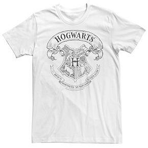 Men's Harry Potter Hogwarts Crest Outline Graphic Tee