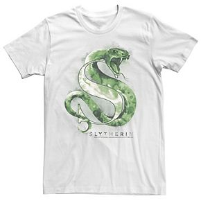 Men's Harry Potter Slytherin Snake Water Color Logo Graphic Tee