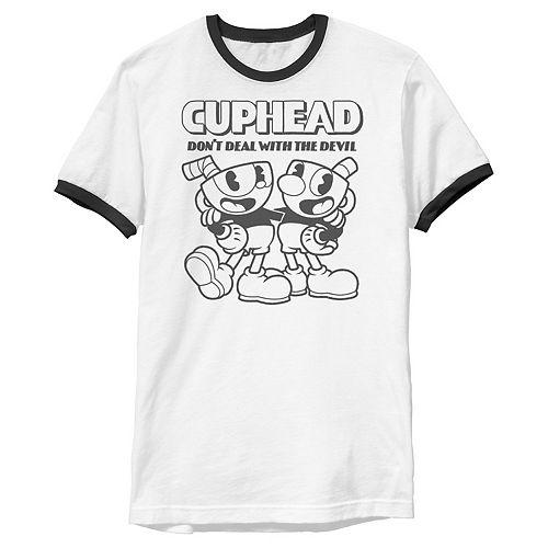 Men's Cuphead Mugman Buddies Versus The Devil Ringer Graphic Tee