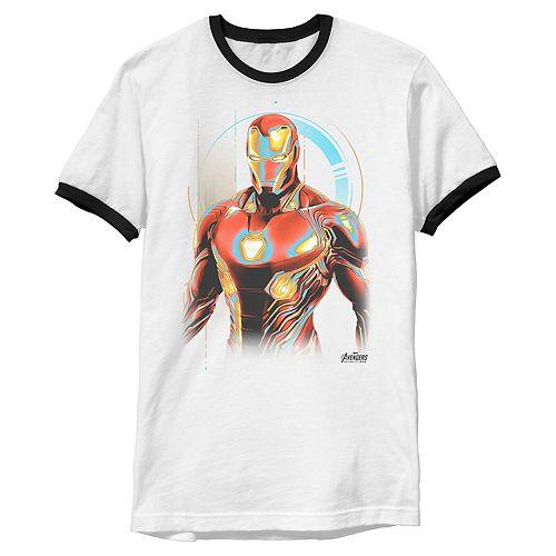 Men's Marvel Infinity War Iron Man Digital Profile Pose Ringer Graphic Tee