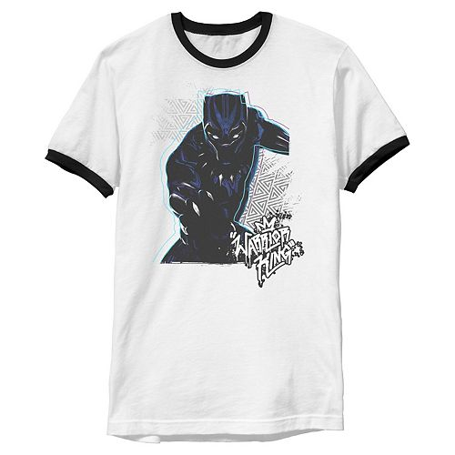 Men's Marvel Black Panther Warrior King Color Pop Claw Ringer Graphic Tee