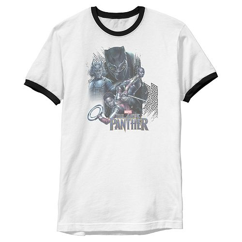 Men's Marvel Black Panther Movie Warrior Poses Ringer Graphic Tee