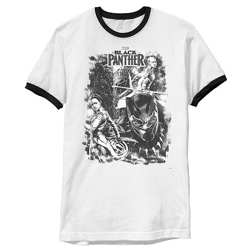 Men's Marvel Black Panther Black And White Group Sketch Ringer Graphic Tee