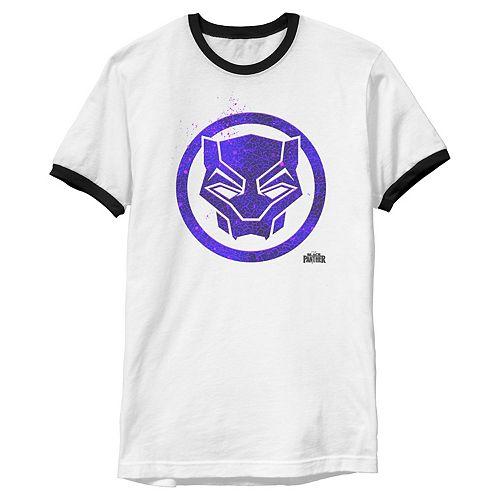 Men's Marvel Black Panther Movie Purple Splatter Icon Tee