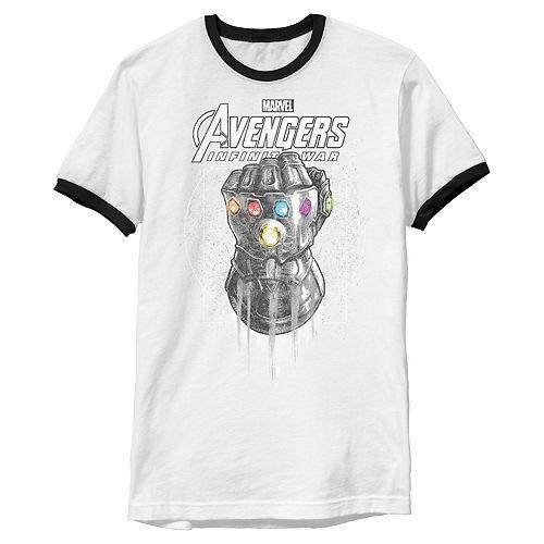Men's Marvel Infinity War Geo Gauntlet Sketch Ringer Graphic Tee