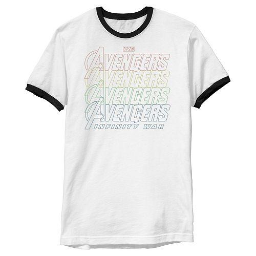 Men's Marvel Avengers Infinity War Rainbow Ringer Graphic Tee