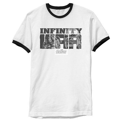 Men's Marvel Infinity War Thanos Text Art Distress Ringer Graphic Tee