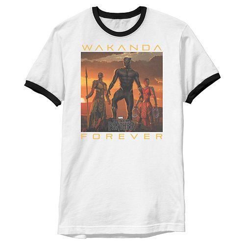 Men's Marvel Black Panther Movie Wakanda Forever Ringer Graphic Tee