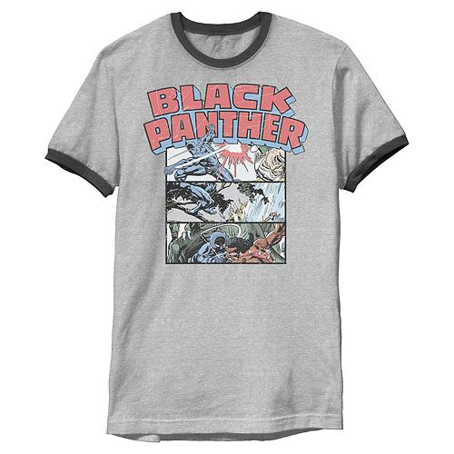 Men's Marvel Black Panther Retro Comic Stacked Panel Art Ringer Graphic Tee