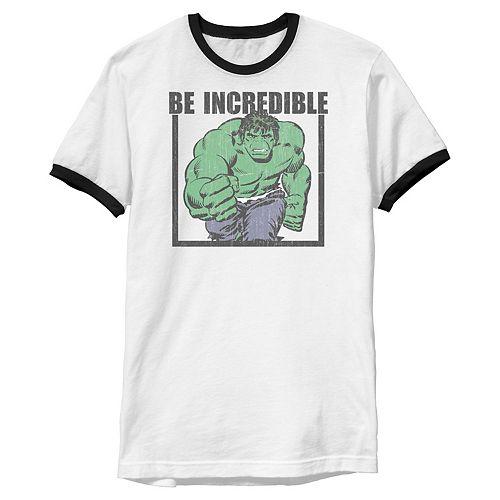 Men's Marvel Hulk Be Incredible Adult Ringer Graphic Tee
