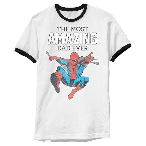 Men's Marvel Spider-Man The Most Amazing Dad Ever Ringer Tee