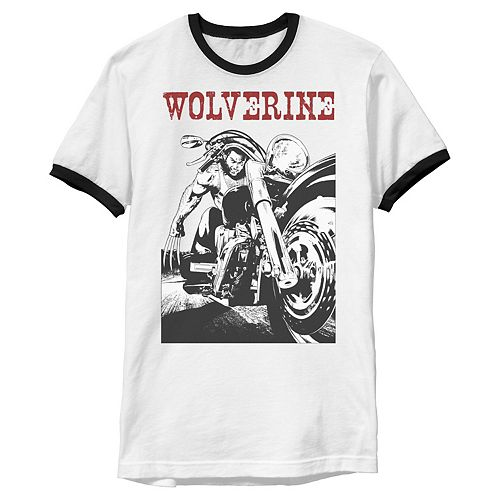 Men's Marvel X-Men Wolverine Young Biker Logan Motorcycle Ringer Graphic Tee