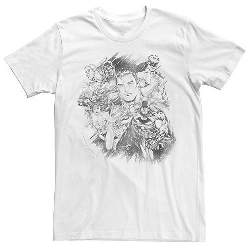 Men's Justice League Hero Pencil Sketch Tee
