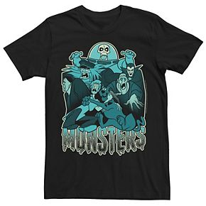 Men's Scooby Doo Blue Hue Monsters Portrait Graphic Tee