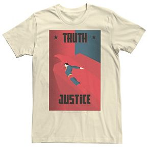 Men's DC Comics Superman Truth And Justice Deco Style Poster Graphic Tee