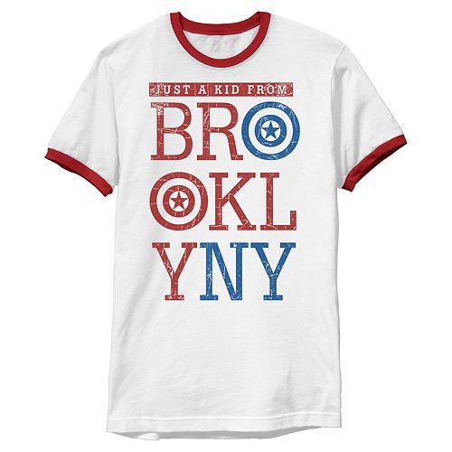 Men's Marvel Captain America Kid From Brooklyn Ringer Tee