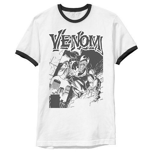 Men's Marvel Venom Comic Illustration Ringer Tee