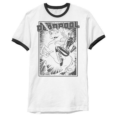 Men's Marvel Dead Pool Black And White Unicorn Poster