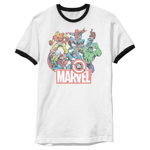 Men's Marvel Avengers Team Retro Comic Vintage Ringer Graphic Tee