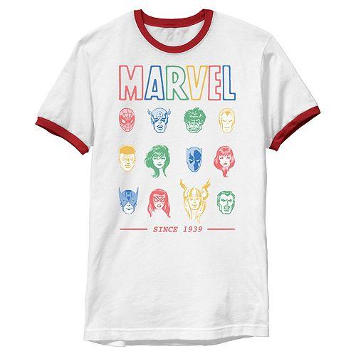 Men's Marvel Comic Hero Collage Since 1939 Ringer Tee