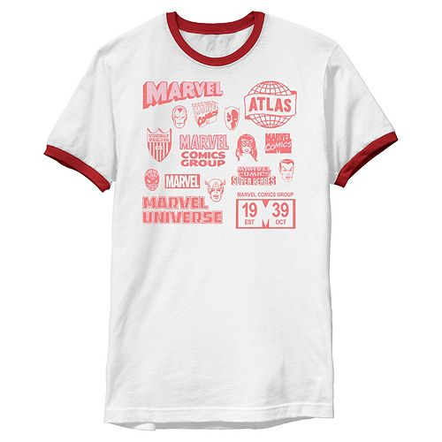 Men's Marvel Vintage Logos And Heroes Mash Up Collage Ringer Graphic Tee