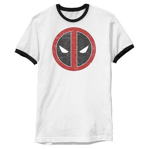 Men's Marvel Deadpool Mask Classic Ringer Graphic Tee