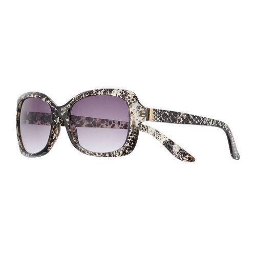 Women's Dana Buchman 56mm Python Print Rectangle Gradient Sunglasses