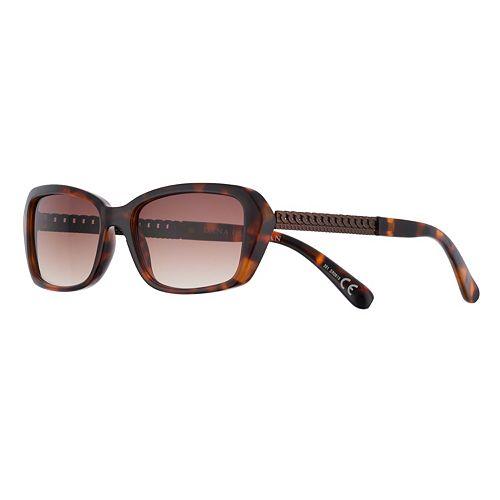 Women's Dana Buchman 56mm Rectangle Gradient Sunglasses with Chain Temple Detail