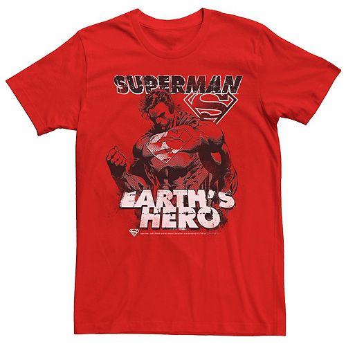 Men's DC Comics Superman Earth's Hero Sketched Poster Graphic Tee