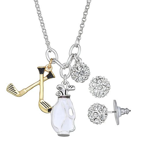 Napier Silver and Gold Tone with Crystal Golf Necklace and Earrings Set