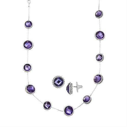 Napier Silver Tone & Tanzanite Collar Necklace and Stud Earrings Set