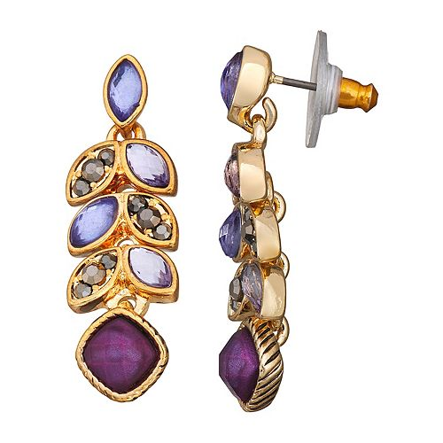 Napier Purple Stone Linear Earrings