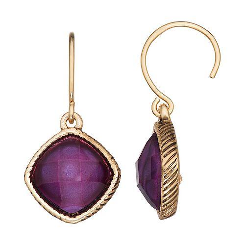 Napier Purple Stone Drop Threader Earrings
