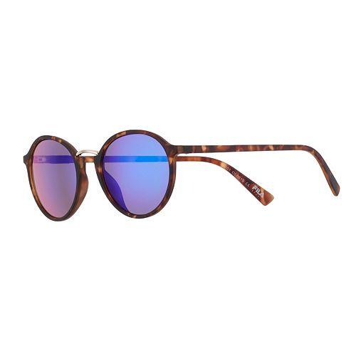 Women's FILA™ Tortoise 51mm Round Mirrored Sunglasses with Metal Bridge