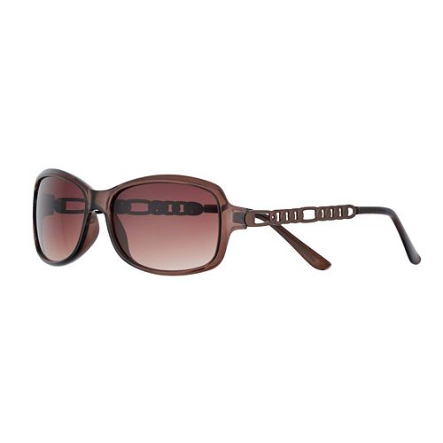 Women's Apt. 9® 57mm Rectangle Sunglasses with Metal Chain Temple