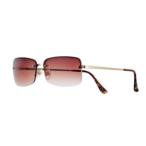 Women's Apt. 9® Semi-Rimless Metal Rectangle Sunglasses