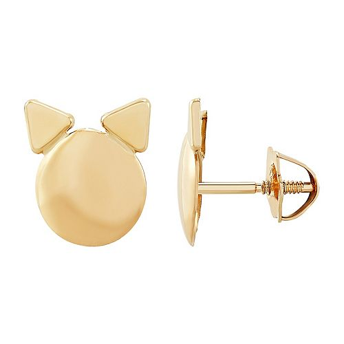 Kids' 14k Gold Cat Earrings