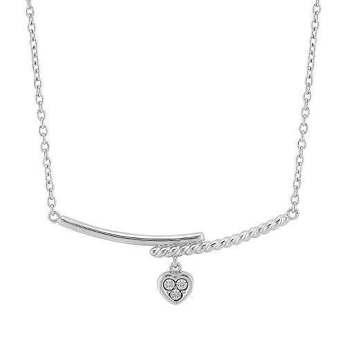 Sterling Silver Diamond Accent Heart Charm Bar Necklace