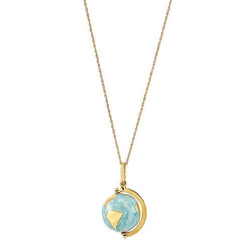 10k Gold Globe Pendant Necklace