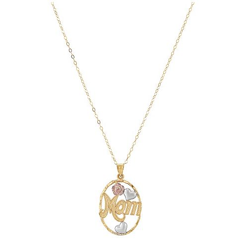 "10k Gold Tri-Tone Oval ""Mom"" Pendant"