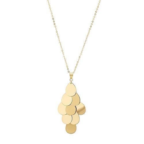 10k Gold Teardrop Disc Necklace