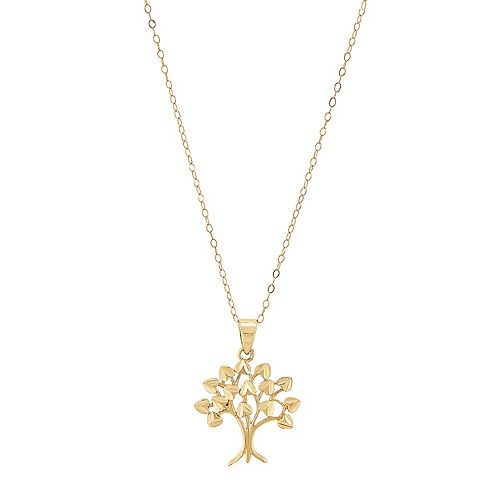 10k Gold Family Tree Pendant Necklace