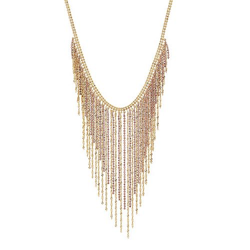 Two Tone 18k Gold Over Silver Fringe Statement Necklace