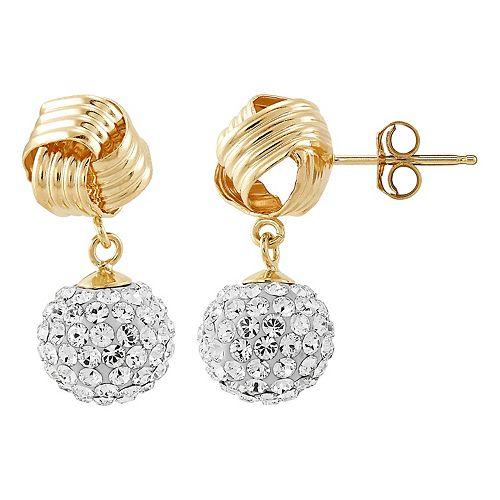 14k Gold Crystal Love Knot Fireball Earrings